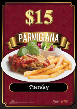 Tuesday Night $15 parmas