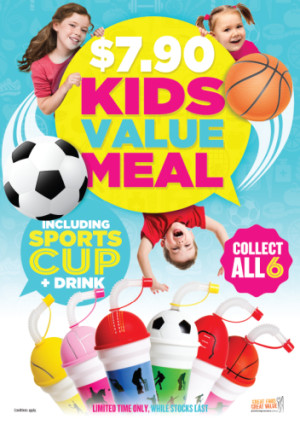 $7.90 Kids Value Meal including Sports Cup & Drink