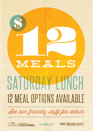 Saturday Lunch $12 Meals